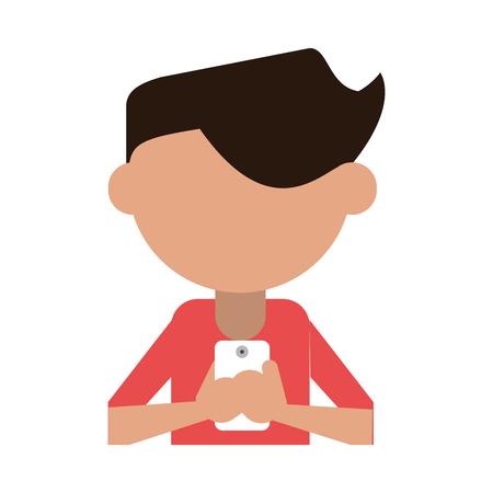 faceless man using smartphone icon image vector illustration design Illustration