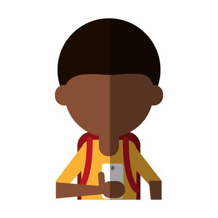faceless student using smartphone icon image vector illustration design Illustration