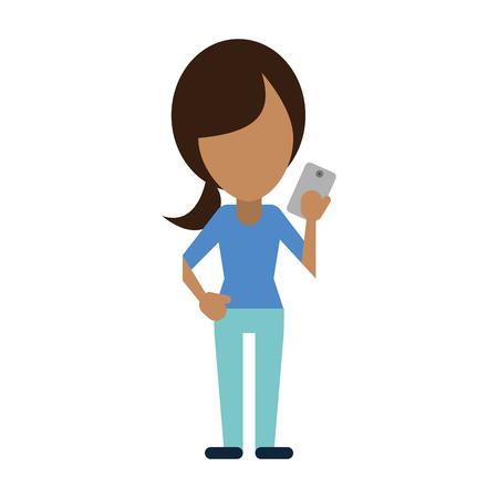 faceless woman using smartphone icon image vector illustration design Illustration