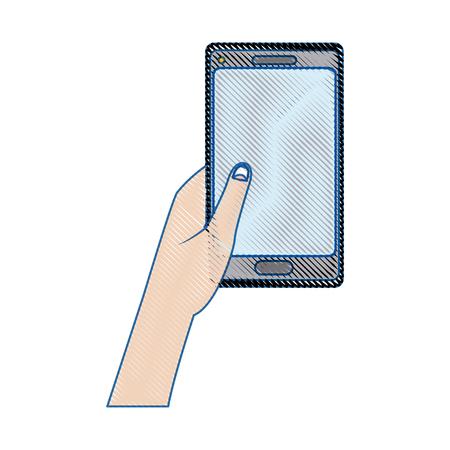 using smartphone: hand holding smartphone application digital vector illustration