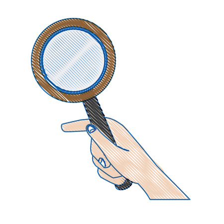 seeking: hand holding magnifier handle search vector illustration