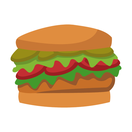 sesame: burger fast food unhealthy wit tomato and lettuce vector illustration