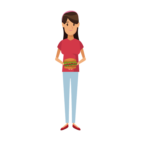 woman holding burger unhealthy nutrition food vector illustration