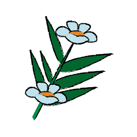 fresh bamboo leaves flowers botanical zen forest tropical spa decoration vector illustration
