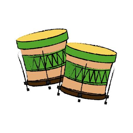 brazilian samba batucada drum instrument music vector illustration