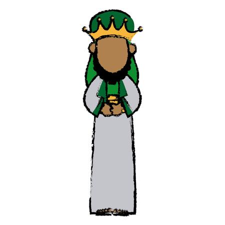 caspar: cute cartoon wise king manger character vector illustration