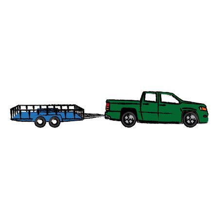 tractor trailer: pickup truck trailer cargo shipping image vector illustration