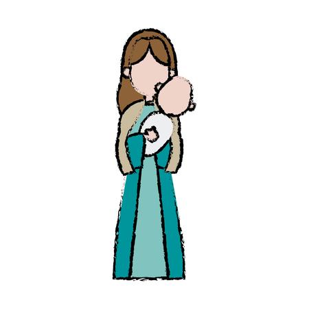 Virgin Mary houden baby Jezus katholieke afbeelding vector illustratie Stockfoto - 80942396