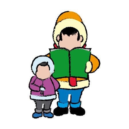 carolers: cartoon man and son choir singing for christmas vector illustration