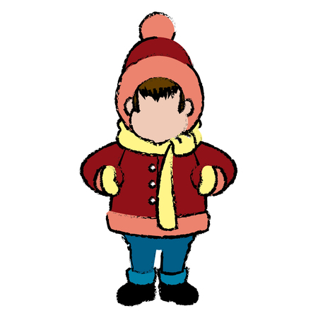 character man carols singer at a winter clothes vector illustration