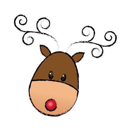 happy cartoon christmas reindeer animal cartoon vector illustration