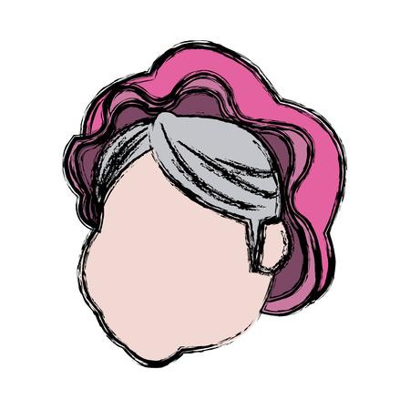 Carácter sin rostro señora claus pelo sombrero ilustración vectorial Foto de archivo - 80944578