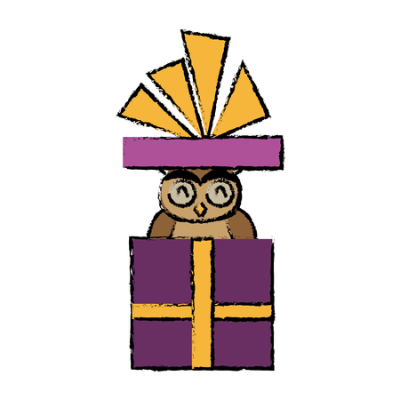 postcard box: christmas owl in gift box surprise present with bow vector illustration