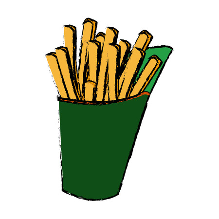 french fries fast food tasty takeaway vector illustration