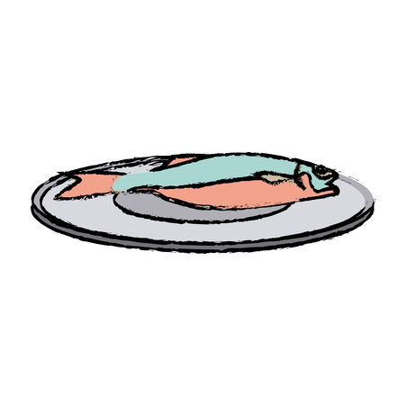 drawn fish on a plate fresh health food vector illustration