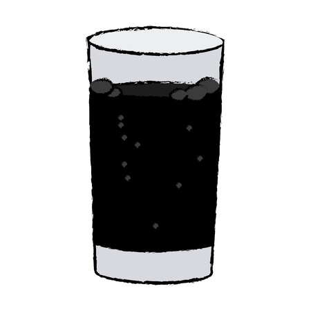 glass cup with soda fresh cold vector illustration