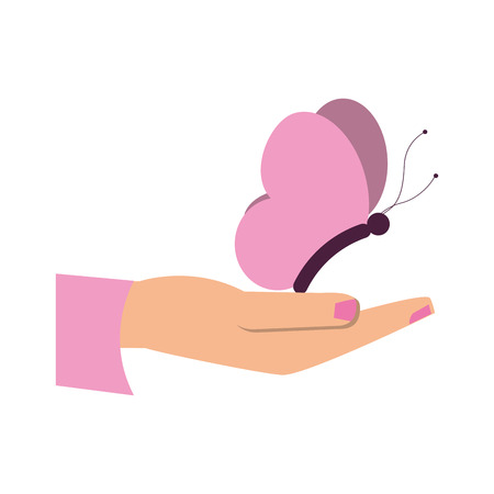 female hand holding butterfly cartoon icon image vector illustration design