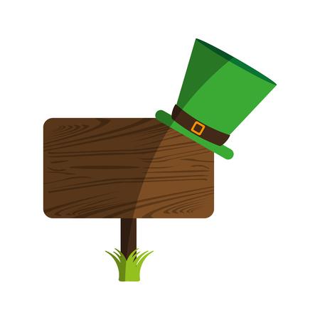 clover leaf shape: leprechaun hat on blank wooden sign st patricks day related icon image vector illustration design