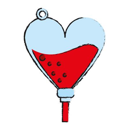 humanitarian: heart shape iv bag blood donation related icon image vector illustration design