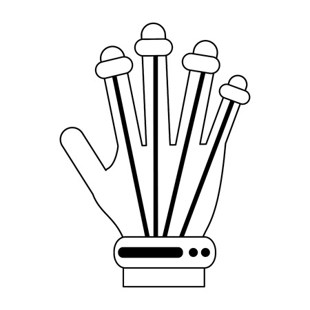 viewing: hand movement sensors virtual reality gadget icon image vector illustration design  black line