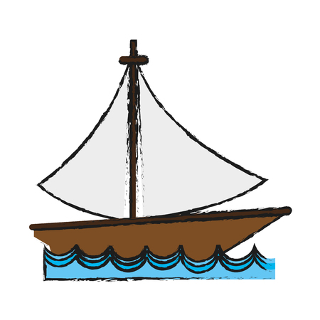 sailboat on water  icon image vector illustration design