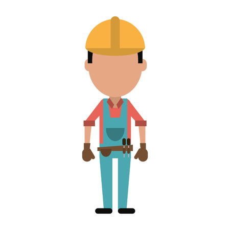 male engineer construction or factory worker wearing overall  avatar icon image vector illustration design Illustration