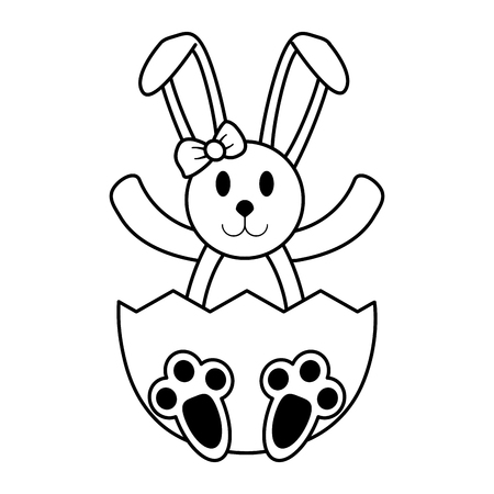 bunny or rabbit with decorated egg easter related icon image vector illustration design  black line