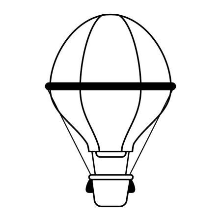 hot air balloon icon image vector illustration design  black line