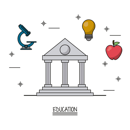white background poster of education with parthenon in closeup and icons of microscope and light bulb and apple fruit vector illustration