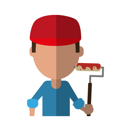 male large surface painter avatar with paint roller icon image vector illustration design