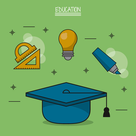colorful poster of education with graduation cap in closeup and icons of geometric rulers and light bulb and marker vector illustration