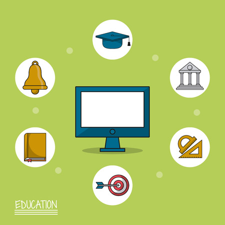 colorful poster of education with computer in closeup and icons of education around him vector illustration
