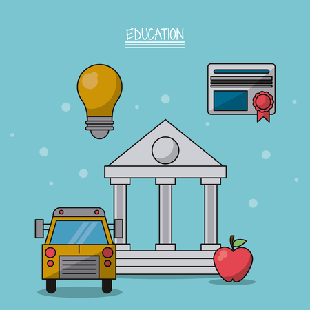colorful poster of education with parthenon in closeup and icons of school bus and light bulb and diploma and apple fruit vector illustration
