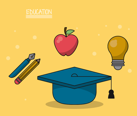 colorful poster of education with graduation cap in closeup and icons of pencil and fountain pen and apple fruit and light bulb vector illustration Illustration