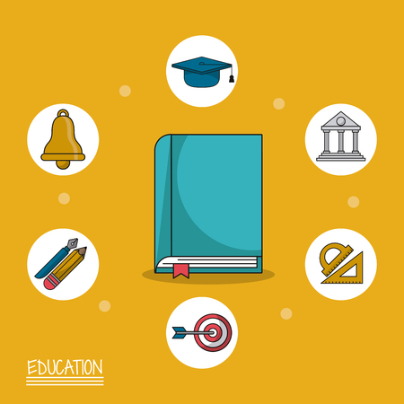colorful poster of education with book in closeup and icons of education around him vector illustration