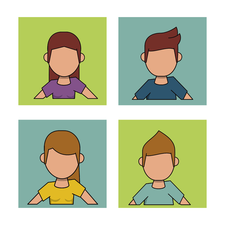 asian business team: white background with frames of men and women with hairstyle and faceless vector illustration