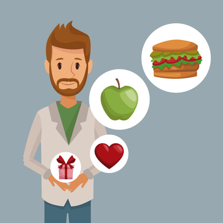 vegetarian hamburger: colorful poster half body bearded man and icon of elements healthy food gifts vector illustration