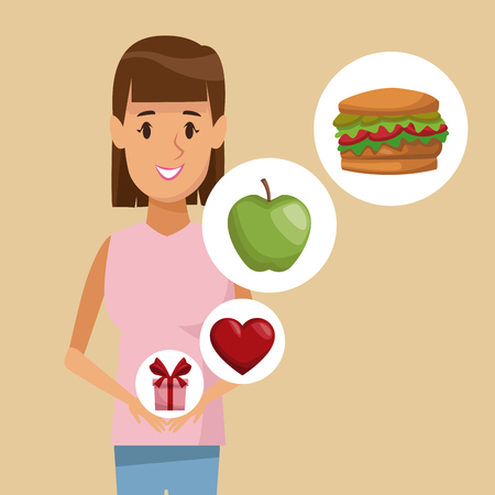 colorful poster half body straight woman and icon of elements healthy food gifts vector illustration