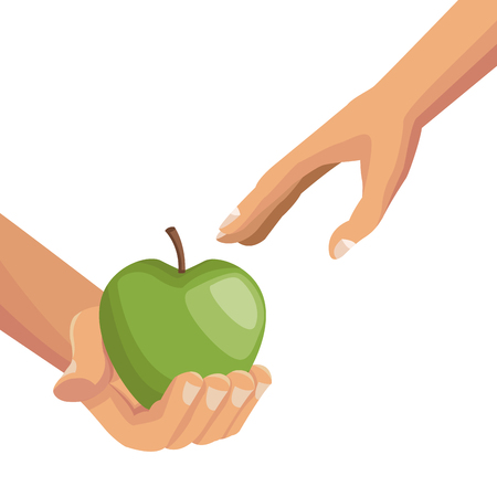 white background with colorful hands giving a apple fruit to other palm human vector illustration
