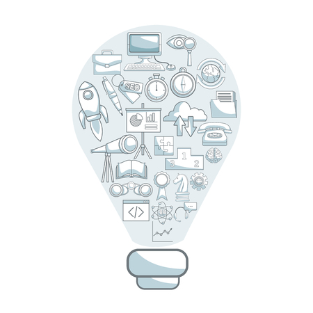 price development: white background with silhouette color sections shading of light bulb shape solution with icons business development inside vector illustration