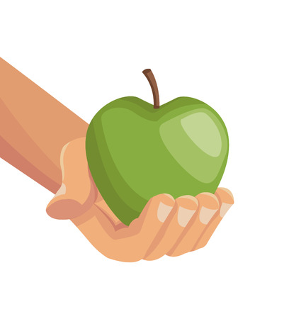 hi five: white background with colorful hands holding an apple fruit vector illustration Illustration