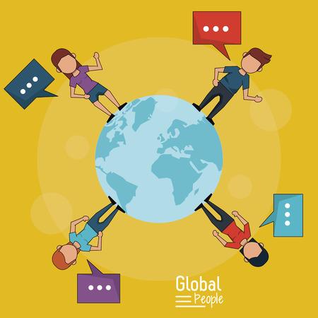 poster di persone globali con sfondo giallo del pianeta Terra e le persone intorno al tuo testo con illustrazione vettoriale Vettoriali