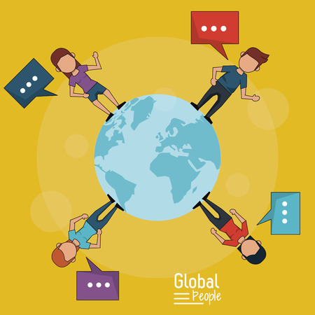 poster of global people with yellow background of planet earth and people around her with text dialogues vector illustration