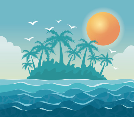 colorful poster sky landscape of palm trees on the beach with sun in the sky vector illustration