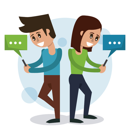 color background of man and woman stand and text chat in smartphones vector illustration Illustration