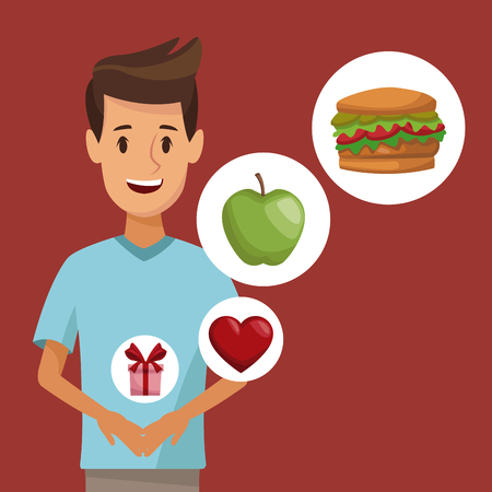 vegetarian hamburger: colorful poster half body young man and icon of elements healthy food gifts vector illustration