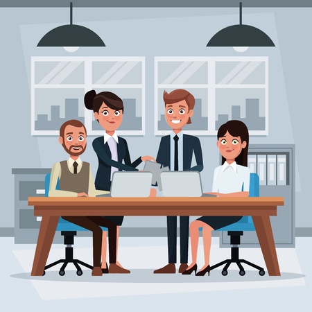 colorful background workplace office with teamwork conformed for women and men executives working vector illustration