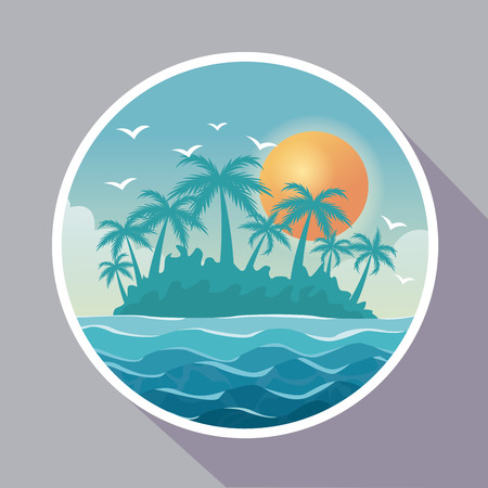 colorful poster with circular frame of island landscape vector illustration