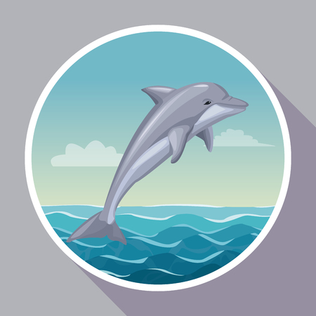 colorful poster with circular frame of seaside with dolphin mammal in ocean vector illustration
