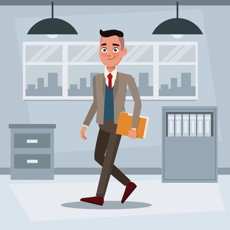 colorful background workplace office with executive man walking with folder documents vector illustration Illustration
